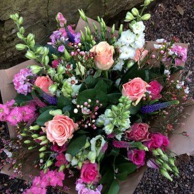 All The Pinks Hand-Tied Flower Bouquet Battersea Flower Station Florist London