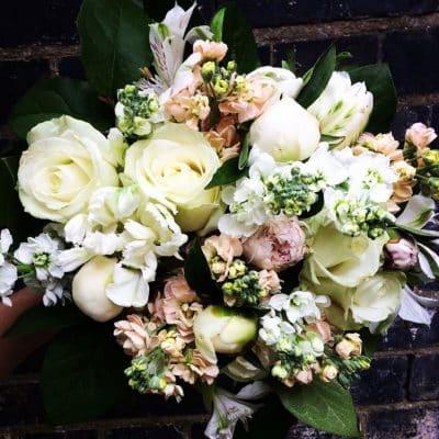 Seasonal Whites & Ivories Flower Bouquet Battersea Close Up Battersea Flower Station Florist London