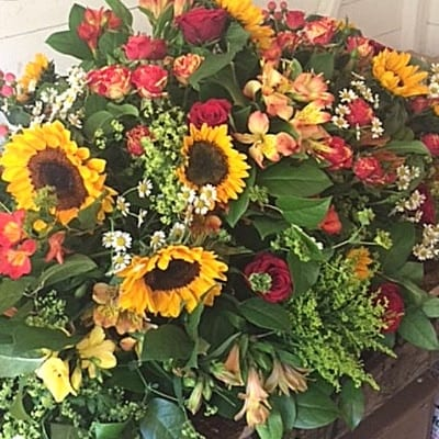 Funeral Casket Brights Sunflower Small Square