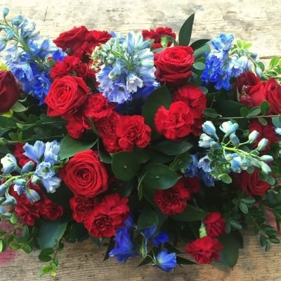 Funeral Casket Reds Blues Small Square