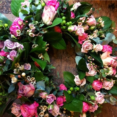 Funeral Pink Wreath Small Square