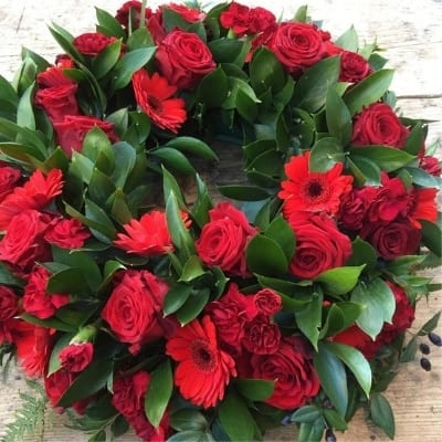 Funeral Red Wreath Small Square
