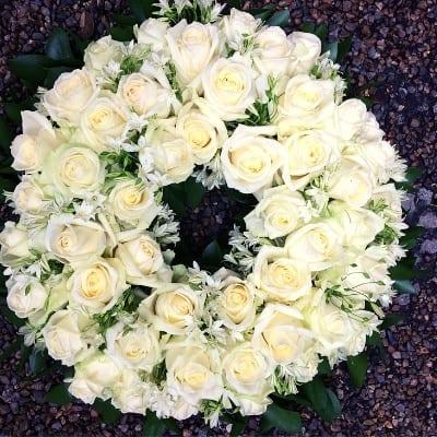Funeral White Wreath Small Square