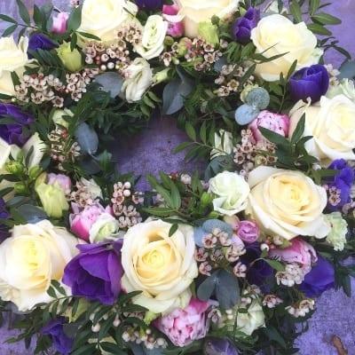 Funeral Wreath Creams Purple Small Square