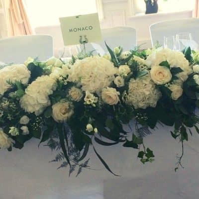 Wedding Table Arrangement Long at Venue Battersea Flower Station Wedding Florist London