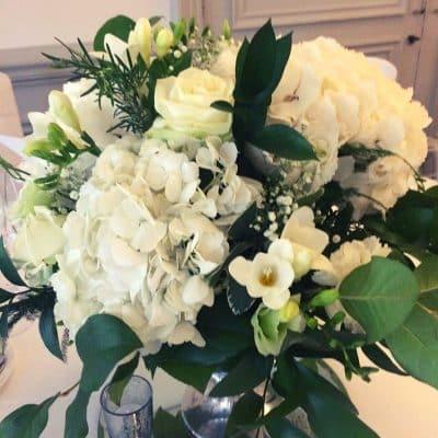 Wedding Table Arrangement White Close Up Florist London