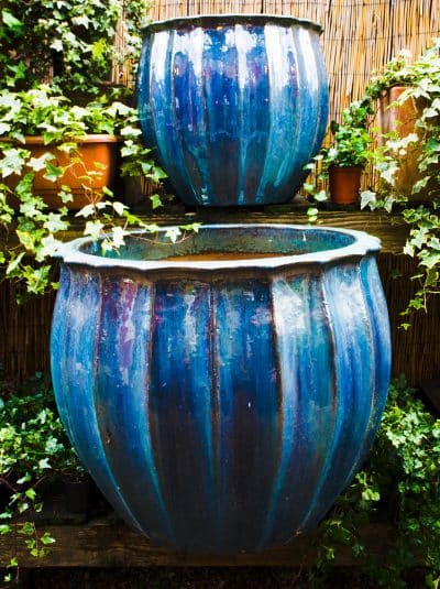 Large Blue Glazed Outdoor Pots