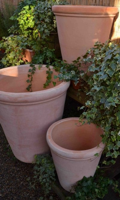 Large plain terracotta pot