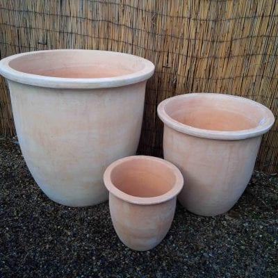Large plain terracotta pots