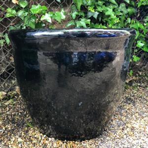 black glazed pot