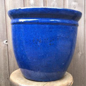blue glazed pot with rim detail