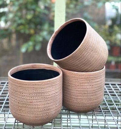 Taupe Textured Ceramic Pot